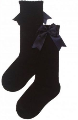Navy Knee High Double Bow Socks